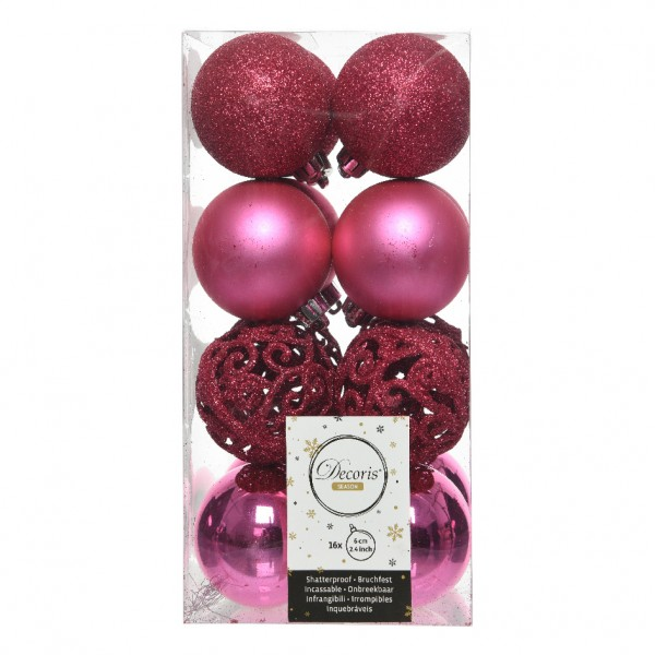 Lot de 16 boules de Noël (D60 mm) Alpine multi Rose flashy