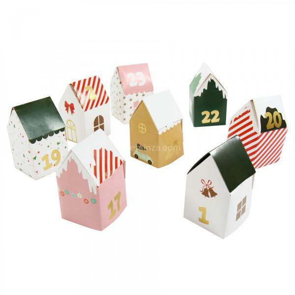 Modele Calendrier De L Avent.Calendrier De L Avent A Confectionner Soi Meme 24 Maisons Modele 3 Multicolore