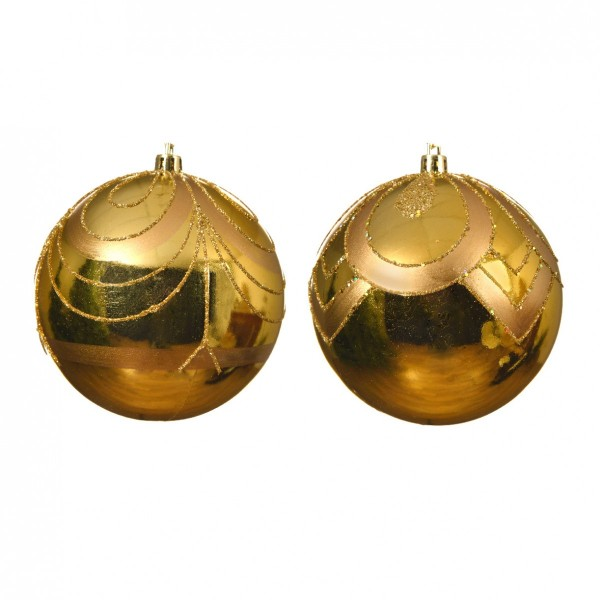 Lot de 12 boules de Noël (D100 mm) Art déco  Or
