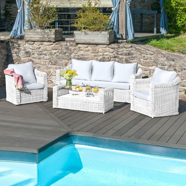 salon de jardin calvi blanc gris clair 5 places salon de jardin table et chaise eminza