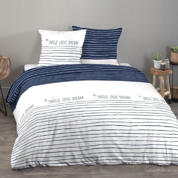 housse de couette et deux taies coton 240 cm lineline bleu marine linge de lit eminza