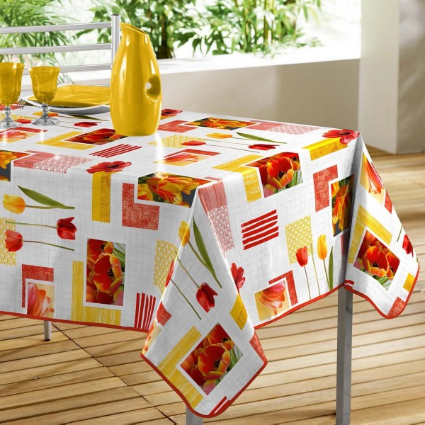 Nappe rectangulaire PVC (L240 cm) Passion Tulipes Rouge et jaune