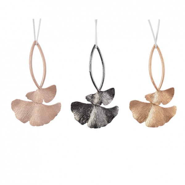 Lot de 3 feuilles Ginko alliage Gris