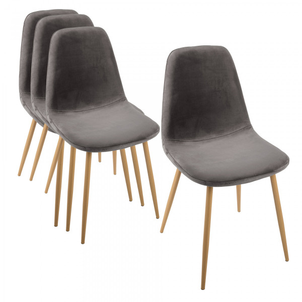 Lot de 4 chaises Roka Velours Gris