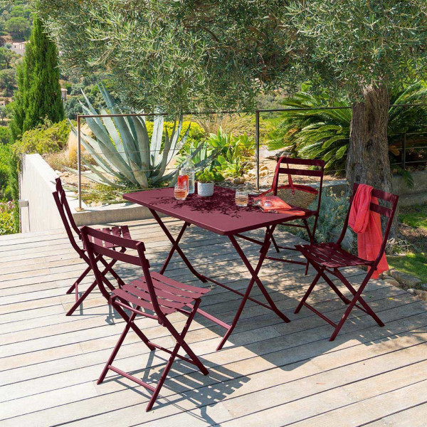 Table de jardin rectangulaire pliante Métal Greensboro (110 x 70 cm) - Bordeaux