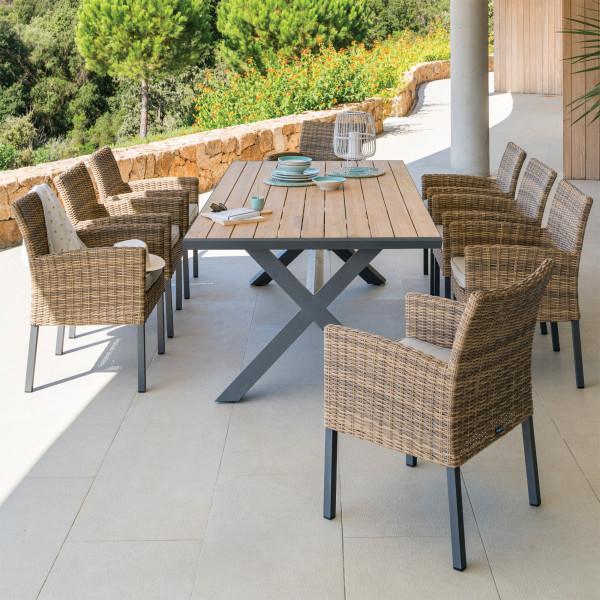Table De Jardin Teck Axiome 220 X 109 Cm Naturel Salon De