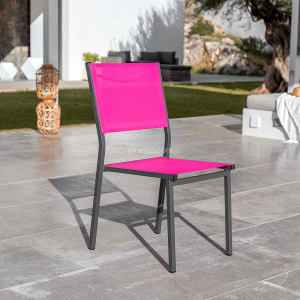 Chaise de jardin alu empilable Murano - Gris anthracite/Rose