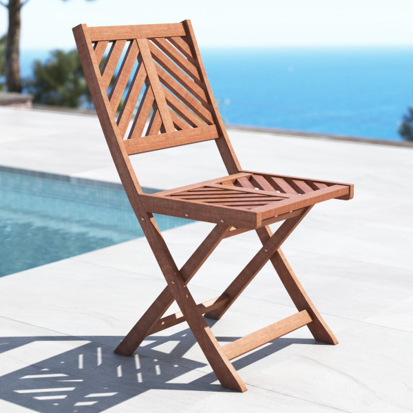 Lot de 2 chaises de jardin pliantes acacia Brunei - Naturel