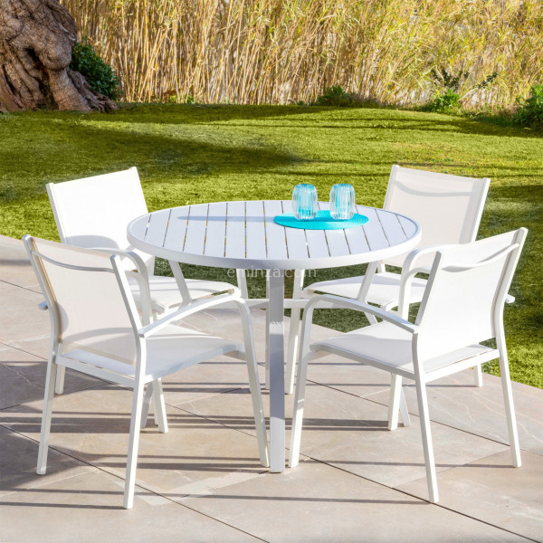 Table de jardin 5 places Aluminium Murano (D105 cm) - Blanche