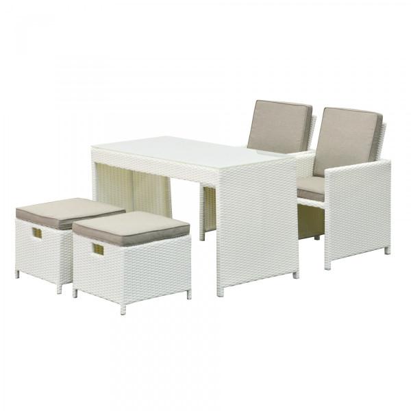 Salon pour balcon encastrable menorca blanc 4 places - Salon de jardin encastrable 4 places ...