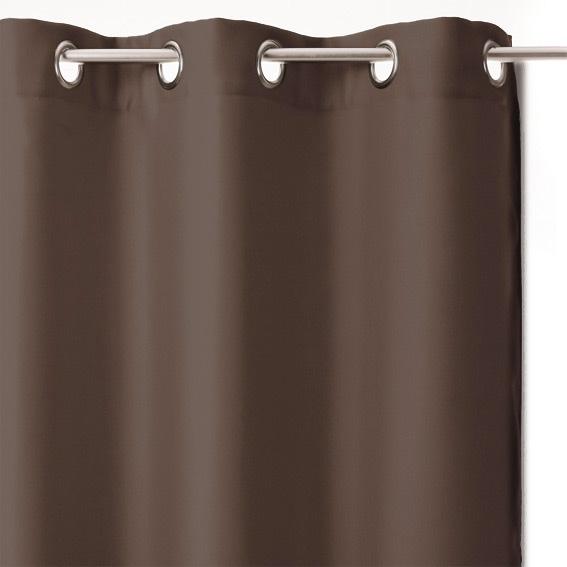 paire de rideaux occultants 135 x h240 cm uni chocolat. Black Bedroom Furniture Sets. Home Design Ideas