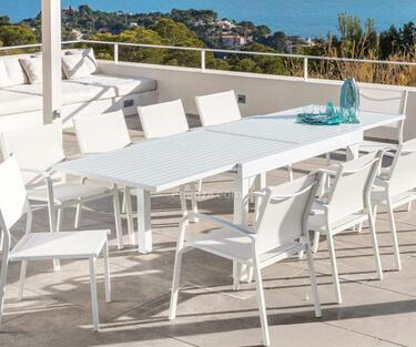 Mesa blanca aluminio